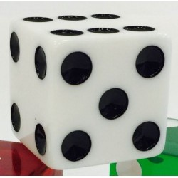 "2"" Jumbo Opaque White Dice"