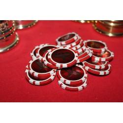 Shimmed Premium 14g Poker Chips, $5 Clay Composite Shimmed