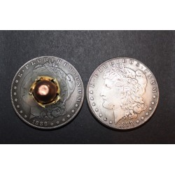 45 cal Bullet through Real Morgan Dollar