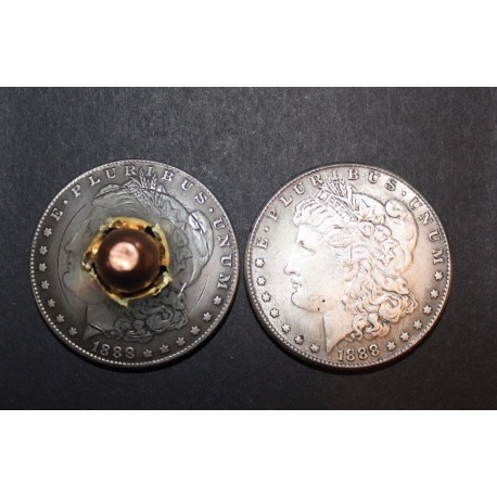 45 cal Bullet through Morgan Dollar
